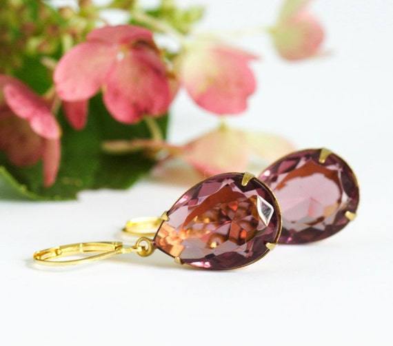 Burgundy Jewel Earrings - Fabulous Plum Purple Oval Jewels in Brass Setting and Gold Plated Ear Wires