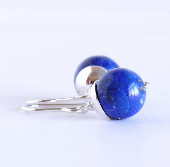 lapis earrings blue lapis and sterling by jacarandadesigns