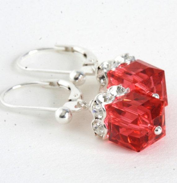 Coral Red Crystal Earrings, Sterling Silver, Wedding, Bridesmaids, Handmade Earrings, Drop Earrings