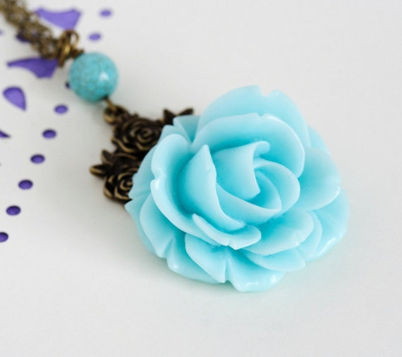 Black Friday Etsy 25% off, Rose Flower Necklace, Aqua Flower Necklace, Shabby Chic Jewelry