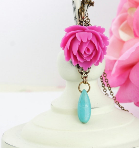 Free Shipping, Gift For Mom, Pink Turquoise Necklace, Flower Necklace, Pink Jewelry, Bridesmaid Jewelry, Gift For Mom, Spring Fashion