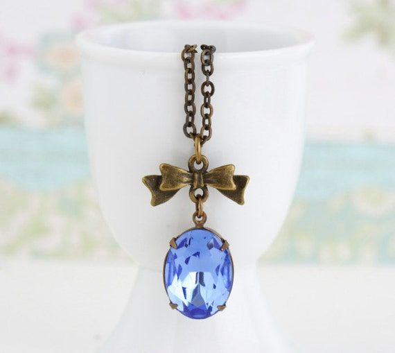 Blue Jewelry, Sapphire Blue Jewel Necklace With Brass Bow on a Brass Chain, Simple and Lovely