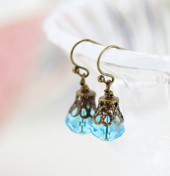 SALE, Little Shimmer Earrings in Azure Blue