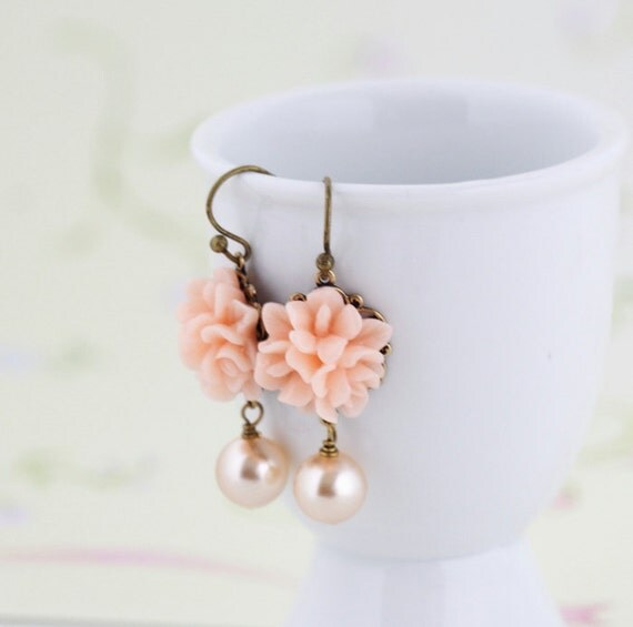 Flower Earrings - Peach Flower Earrings - Sweet Floral Earrings - Matching Necklace, Mother's Day Gift , Mother's Day Gift