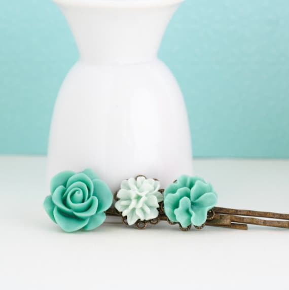 Aqua Bobby Pins Antique Brass With Vintage Style Flowers  - Set of Three, Gift  For Girl, Floral Accessories