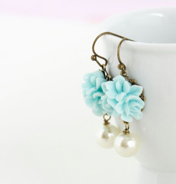 On Vacation - Flower Earrings - Pale Blue Bridal Earrings - Ivory Pearl - Cute Jewelry - Matching Necklace