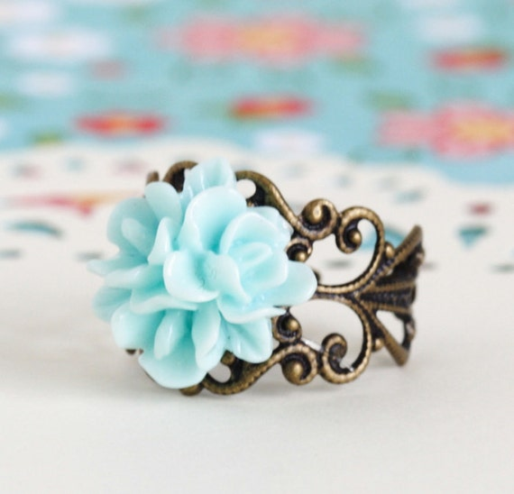 Aqua Blue Flower Ring, Antique Brass, Adjustable