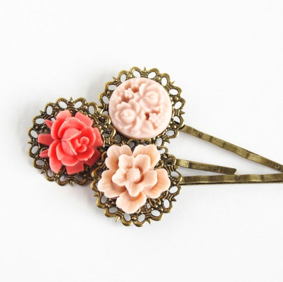 Bobby Pins Antique Brass With Vintage Style Flowers, Gift  For Girl, Gift For Her