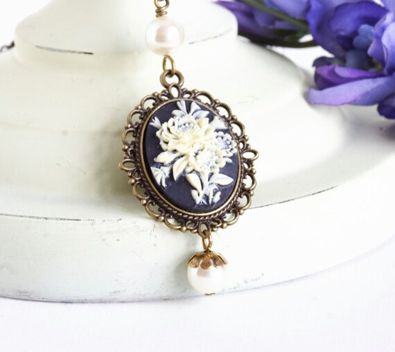 Black and Ivory Floral Cameo Necklace, Brass Setting, Ivory Pearls, Victorian Inspired, Gift For Mom