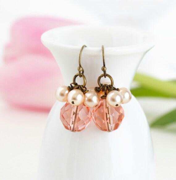 Pearl Earrings - Peachy Pink Bunches of Pearls Earrings