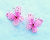 Set of 2 Butterfly Barrettes, Shocking Pink, Black, Red, LIght Blue, Light Pink, Purple, get a pair to match your tutu