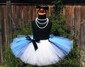 Teen Adult Tutu - Inspired by Alice in Wonderland - Custom Sewn Black White Blue Tutu - length up to 18'' long - waist up to 42''