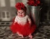 Red Tutu - Sewn Infant Tutu - Baby's First Tutu - READY TO SHIP - newborn to 12 mo - Birthdays, Valentine's Day