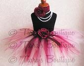 "Tutu - Burgundy Yellow Pink Tutu - Autumn Butterfly Baby - Custom Sewn 11"" Pixie Tutu - newborn up to 5T - TUTU ONLY"