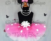 """Lovely Little Minnie - Custom Sewn 8"""" Infant/Toddler Tutu - hot pink and white with polka dots - sizes Newborn up to 5T - TUTU ONLY"""