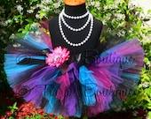 Girls Tutu Skirt, Rockstar Birthday Tutu, Punk Rock Blue Black Purple Fuchsia Tutu, Sewn Tutu, Electric, Photo Prop, Halloween Tutu