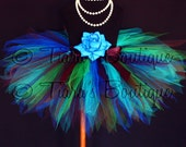 Exquisite Peacock - Custom Sewn Tutu For Teens or Adults - Blue Green Brown Purple - 15'' Pixie Tutu - up to 34'' waist