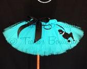 50's Poodle Skirt Tutu, Turquoise Blue Tutu w/ Poodle, Sock Hop Sweetie, Blue Tutu w/ Black Poodle Applique for Girls, Babies, Tweens