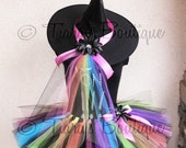 Tutu Witch Halloween Costume - Rainbow, the Punk Rock Witch - Custom Sewn Adult Teen 12'' Tutu & Hat