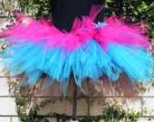 "Trendylicious Tutu - Custom Sewn 3 Tiered Pixie Tutu - For Teens and Adults - Hot Pink Turquoise Blue Brown - up to 15"" long"