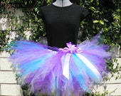Wildflowers - Custom SEWN Teen Adult Tutu - Purples Blues - length up to 15'' - up to 34'' waist