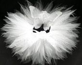 "White Tutu Fairy Wings Infant Costume - Angelic Tutu Set - Sewn 8"" Pixie Tutu & Wings -  sizes newborn to 12 months - Photography Prop"
