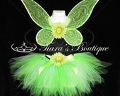 Bright Green Pixie - Inspired by Tinkerbell - HANDMADE WINGS - Petite Pixie Tutu - 11 inch SEWN pixie cut tutu