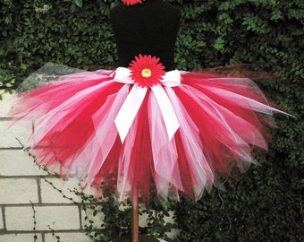 "Girls Tutu - Red and White Tutu - Custom Sewn 11"" Pixie Tutu - Tutu for baby and children sizes Newborn up to 5T"