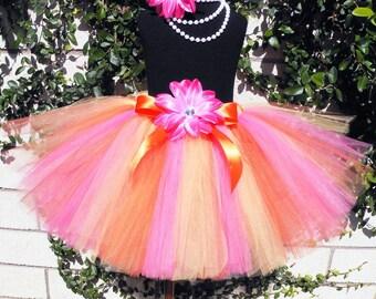"Girls Tutu - Pink Orange Yellow Tutu - Alstromeria - Custom SEWN Tutu - Up to 10"" long - sizes newborn up to 5T"