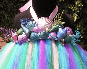 Aquamarine - Custom Sewn Mermaid Tutu Dress - real handpainted sea shells, real freshwater pearls, rhinestones and faux seaweed