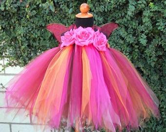 "Custom Sewn Tutu Dress - AUTUMN PIXIE - Baby Pixie Tutu Dress - up to 20"" long - sizes NB to 24 months"