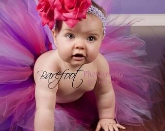 """Tutu, Girls Tutu, Baby Tutu, Pink Purple Tutu, Birthday Tutu, Pink Tutu, Berrylicious Tutu, Sewn 11"""" Pixie Tutu, Tutu with Flower Headband"""