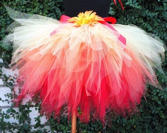 Fire Fairy - 15'' long SEWN 3 tiered Fire Tutu - Available up to size 5T