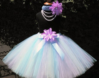 Blue Lavender Green - AQUA SHIMMER - Custom Sewn Long Tutu - length up to 15 inches - sizes newborn up to 5T