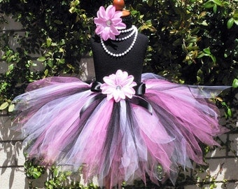 Girls Tutu Skirt for Birthdays, Hot Pink Black White Custom Tutu, ROCKABILLY PIXIE, 15'' SEWN Pixie Tutu, Girls sizes 9 to 12