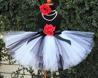 "Flower Girl Tutu Skirt - Beauty and Grace - Black White Sewn 12"" Tutu - sizes newborn to 5T - up to 12'' long - Christmas Tutu - Photo Prop"