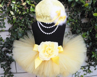 Yellow Tutu Set - Sweet Baby Chick - Custom Sewn 6'' Infant Toddler Tutu and Hat - sizes up to 24 months - Great Baby Shower Gift