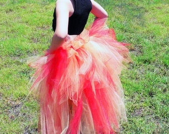 Fire Fairy - Children's Custom Sewn 3 Tiered Pixie Tutu Bustle - Up to 24 inches in length - available in children's sizes up to 8/9
