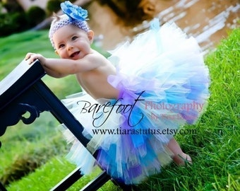 "Blue Purple Pink Tutu, Pastel Tutu, Girls Tutu, Tutu Skirt, Birthday Tutu, Spring Sensation Tutu, 10"" Tutu, Extra Full Tutu, Photo Prop Tutu"
