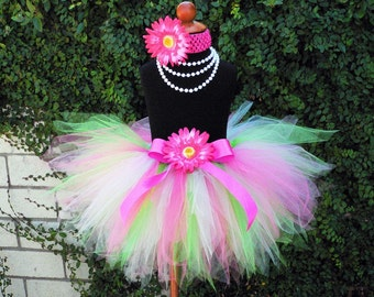 Girls Tutu Set - Birthday Tutu and Headband - Pinkerbell - Hot Pink Green Tutu - tutu and headband only - up to 5T