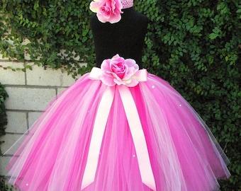 "Flower Girl Tutu Skirt for Weddings, Strawberry Dreams, Custom SEWN Pink Tutu, up to 20"" long, Tutu for girls, Photo props, birthdays"