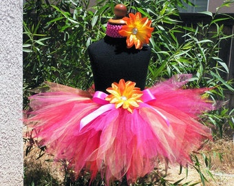 Autumn Blaze - 11'' Custom Sewn Pixie Tutu in Reds, Oranges, Yellows, Pinks - Perfect for Birthdays, Thanksgiving and Fall Photo Shoots