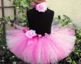 "pink tutu and flower headband set - POSITIVELY PINK - Includes a custom sewn 8"" tutu and flower headband - sizes Newborn up to 5T"