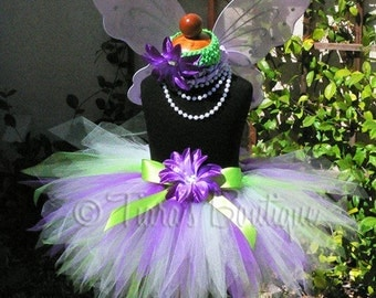 """Green and Purple Pixie Tutu -BELIEVE - Includes a custom 11"""" sewn tutu - Perfect for Birthdays, Recitals, and Halloween - Tutu ONLY"""