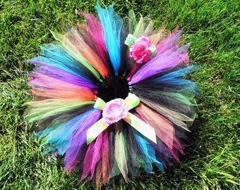 Tutu - Girls Tutu - Birthday Tutu - black with neon rainbow 11'' pixie tutu and headband set - SO CAL PUNK - sewn tutu - Photo Prop