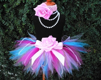 "Girls Pink Blue Brown Tutu with Ribbon Streamers, Cupcake Surprise, Custom Sewn 8"" Pixie Tutu for Birthdays, Infant Tutu, Toddler Tutu"