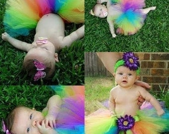 "Rainbow Tutu, Neon Tutu, Birthday Tutu, Brilliant, 8"" Tutu, Baby Tutu, Girls Tutu, First Birthday Tutu, Photo Prop Tutu, Cake Smash Tutu"
