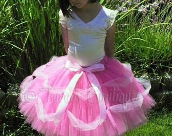 Simply Elegant - Includes a Custom Sewn Pink Princess Tutu Featuring Draping Tulle Decoration - length up to 15 inches - any size up to 5T
