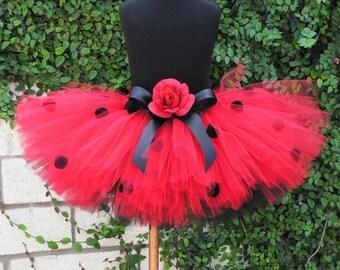 "Tutu Halloween Costume - Teen Adult Women - Custom sewn costume tutu - Layered Ladybug - up to 12"" long"
