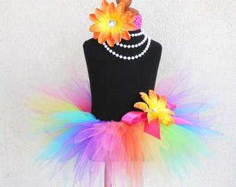 "Neon Rainbow Tutu, Baby Tutu, Toddler Tutu, Rainbow Birthday Tutu, 8"" Pixie Tutu, BRILLIANT, Cake Smash Tutu, Photo Prop Tutu, Trolls Tutu"